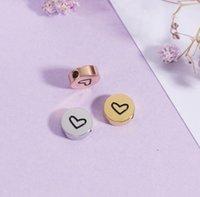 Spiegel gepolijst roestvrij staal 18mm kleine gat kraal ronde charme met hart print kralen voor vrouwen DIY 8mm 20piece / lot