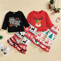 Clothing Sets 2Pcs Christmas Autumn Cotton Outfits Baby Girls Printed O-Neck Long Sleeves Tops Ruffle Bell-Bottom Pants 6 Months To 4 Years
