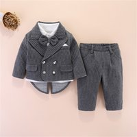 Хорошее качество 4шт наборы для мальчиков джентльмен стиль костюм куртки + рубашки + боути + брюки детские мальчики набор одежды Детские наряды 314 z2