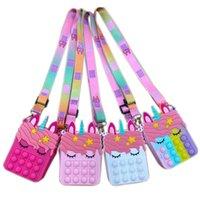 FIDGET POPS Sensory Bubble Bretelle 숄더백 핸드폰 스트랩 손가락 푸시 폰 파우치 케이스 변경 동전 지갑 감압 Unicorn 소녀들을위한 장난감