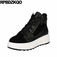 جديد جولة تو منصة الأحذية جلد طبيعي الجبهة الدانتيل يصل عارضة أحذية الكاحل الخريف النساء flatform الأسود عالية الجودة الجوارب Q2HE #