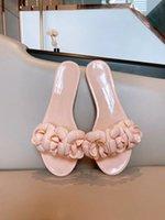 Hohe qualität frau mode camellia blume jelly hausschuhe sommer flip flops strand sandalen wohnungen damen gleitet mit geschenksbox 35-40