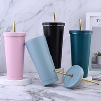 16oz Stainless steel vacuum pipette tumbler 500ml 700ml can hold pearl milk tea to keep warm Reusable Coffee mug Drinking Plastic Sippy Cup
