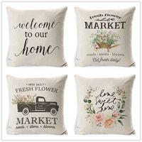 Flower bicycle truck Pillow case spring farm theme 45*45cm Cushion Cover Linen Throw Car Home Decoration Decorative Pillowcase 712 B3