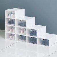 명확한 여러 가지 빛깔의 슈 스토리지 상자 접이식 플라스틱 투명 홈 주최자 쌓을 수있는 디스플레이 겹쳐진 조합 신발 용기 캐비닛 상자
