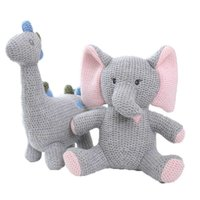 1pc 2020 New Handmade Elephant Knitted Toys Crochet Wool Doll Animal Stuffed Plush Toy Baby Soothing Baby Sleeping Doll Gifts Q0727