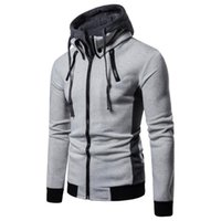 2021 men's cotton spring and autumn fashion holiday two piece sports cardigan trend hooded sweater coat menSVQ5{category}