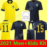 2021 homens Kit Kit Kit Suécia Futebol Jerseys National Team Ibrahimovic Forsberg Mens Larsson Ekdal Isak Home Away Youth Boys Football Camisas