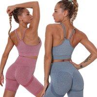 Seamless Gym Yoga Sets High Waist Yoga Pants Fitness Clothing Suit Sportswear Sport Shorts Women's Sports Bra Workout Sports Set