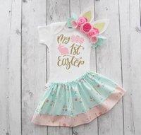 Clothing Sets 4# Children's Born Infant Baby Boys Easter Letter Romper+tutu Floral Skirt+headbands Kids Suits Dress