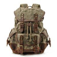Backpack Waterproof Waxed Canvas Men Backpacks Leisure Rucksack Travel School Bag Laptop Bagpack Vintage Shoulder Bookbags