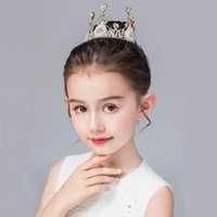 Hair Clips & Barrettes Luxury Queen Princess Gold Crown Crystal Girls Small Kid Show Bridal Prom Wedding Accessories Round Tiaras Headband