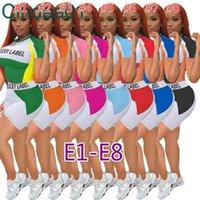 여성 Tracksuits 두 조각 세트 Deisgner 반바지 복장 섹시한 여름 성격 편지 패턴 인쇄 조끼 셔츠 숙녀 Sportwear 8 스타일