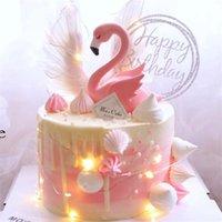 Flamingo Cumpleaños Pastel de Decoración Accesorios Amor Alas Fiesta Postre Tabla Plug-in Resin Pink Pink Fashion Moda 19x11cm 1 pieza