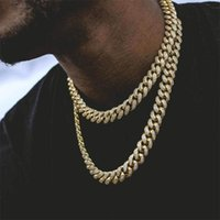 Iced Out Cuban Link Chain Necklace Bling Rhinestone Golden Finish Men's Hip Hop Jewelry 18, 20,24,30 Inch Chains
