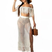 Women Summer Fishnet Knitted Two Piece Set Sexy Mesh See Through Party Club Bra Top And Pant Beach Outfits Dress