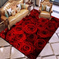 Carpets 3D Printing Rug Romantic Valentine's Day Pink Red Rose Flower Wedding Decoration Living Room Bedroom Area Home Mat