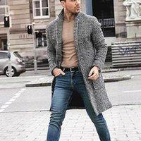 Men's Wool & Blends TANG 2021 Brand Coat Suit Collar Jacket Youth Retro Minimalist Long Plaid Spot Slim Fashion Black White Grid