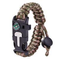 Link, Chain Multi-Function Outdoor Survival Men Bracelets Compass For Women Mountaineering Weaving Adjustable Rope Whistle Bangles