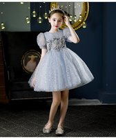 Girl's Dresses Glitter Sequin Pageant Vintage Dress Kids Party First Communion For Girls Children Costume Wedding Prom Vestido