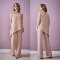 Plus Size Lace Champagne Two Piece Mother of the Bride Dresses Pant Suits Fit Evening Party Prom Blazer OL Outfit Women Tuxedos (Jacket+Pants)