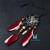 Vacker Dream Catcher Net Rose och Red Feather Diy Reiki Room Decoration Present