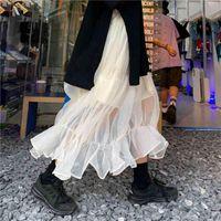 Mesh Rock 2021 Herbst Winter Neue Hohe Taille Slim Temperament Mittellange Koreanische Stil Frauen Rock 210329
