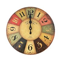 Vintage Rustic Country Tuscan Style Wooden Decorative Round Wall Clock (Color Figures) Clocks