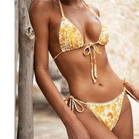 여성 수영복 2021 Bikinis 섹시한 문자열 수영복 레이스 Biquini Halter 비키니 세트 붕대 수영복 꽃 무늬 프린트 여성 수영복 해변