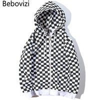Herren Hoodies Sweatshirts BBOVIZI Mens Harajuku Hip Hop Reißverschluss Hoodie Sweatshirt Schwarz Weiß Schachbrett-Plaid Streetwear-Fleece-Kapuze
