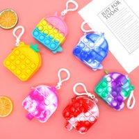 Fidget 장난감 감각 패션 마카롱 유니콘 팝 컬 스토리지 가방 푸시 버블 안티 스트레스 교육 어린이 및 성인 감압 장난감 놀람 도매