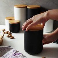 Nordic Ceramic Storage Jar with Bamboo Lid Airtight Sealed Ceramic Canister Set of 3 Container for Coffee Tea Sugar Spice Black White
