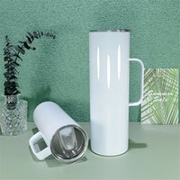 Sublimation Straight Tumbler with handle White 20oz skinny tumblers Doubel-Wall Stainless Steel Slim Insulated Cups Beer Coffee Mugs Rubber Bottom Metal Straw