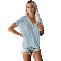 Women's Blouses & Shirts Blouse Women 2021 Summer Solid Chiffon Ladies V-neck Short Sleeve Loose Casual Plus Size Tops Office Femme