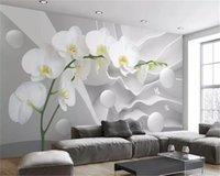 Özel 3d duvar kağıdı Dabstract uzay phalaenopsis topu oturma odası tv arka plan bağlı duvar ev geliştirme ipek duvar kağıtları