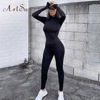 Artsu 여성 긴 소매 피트니스 Jumpsuit Bodycon 지퍼 스키니 여성 캐주얼 Bodysuit Rompers 빈티지 바지 Asju70158 N5RH #