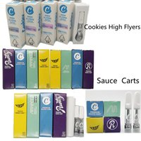 Cookies Ceramic Carts Cookie High Flyers Sauce Carts Childproof PVC Tubes Vape Cartridges Packaging 510 Thread Oil Vaporizer Atomizers 0.8ml 1ml Glass Tanks Empty