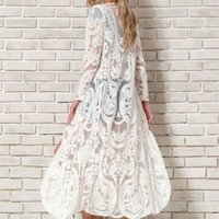 TEELYNN White lace long blouse shirt women Beach Cover-Up Swimwear Sarong floral Embroidery Kimono Sexy Cardigan summer blusa 210317