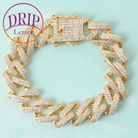 Link, Chain 14mm Iced Out Cubic Zircon Cuban Bracelet Gold Color Link Hip Hop Street Style Men's Rock Jewelry