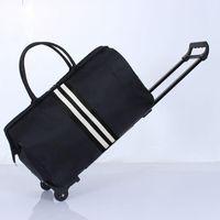 Bavullar Çizgili Taşıma Çanta Su Geçirmez Naylon Trolly Seyahat Erkekler Seyahat Çantaları Katlanabilir Kabin Bavul Tekerlekler XA225C