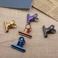 50mm 5 colori retrò rotondo metallo clip clip bulldog clip in acciaio inox graffetta graffetta per tag borse ufficio DWDD8425