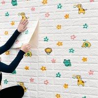 Wallpapers 3D Brick Kids Cartoon Animal Pattern Wallpaper Children's Room DIY Self-adhesive Waterproof PE Foam Wall Stickers Decor