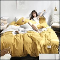 Supplies Textiles Home & Gardenwashed Cotton Four-Piece Queen Bedding Bed Sets King Size Comforter1 Drop Delivery 2021 Uauei