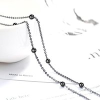 Latest Trendy 925 Sterling Silver Necklace For Women Black Gold Beads Chain Girl Jewelry Party Accessories Chains