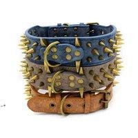 Bronz Çivili Pet Köpek Tasmaları Aşınmaya Dayanıklı PU Büyük Retro Rivet Yaka 3 Renkler HHE9797