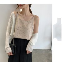 Women's Tanks & Camis Wenfly Women Chiffon Korean Summer Suspender V-neck Sleeveless Backless Dot Printing Casual Loose Female Tops