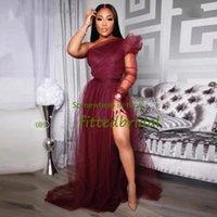 Burgundy One Shoulder Evening Dresses African Party Gowns 2021 Vestidos Formales Mermaid Prom Dress Women Abendkleider