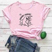 Squeaky T-shirt Frau Nette Delphin Muster Frauen T-shirt Mode Lustige Oansatz T-shirts Rosa Casual Tee Femme 210423