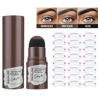 Waterproof Eyebrow Stamp Shaping Kit Eyebrow Definer with 24 Reusable Eyebrow Stencils Hairline Shadow Powder Stick + free gift