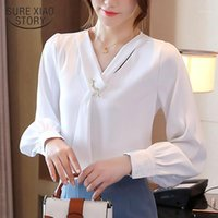 2020 Office Solid V Neck Blouse Women New Autumn Lantern Long Sleeve Chiffon Shirt Female Plus Size Ladies Pullovers Tops 110811